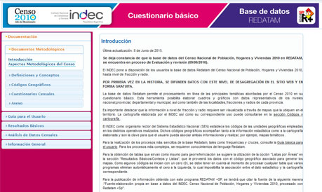 Base de datos REDATAM del Censo 2010